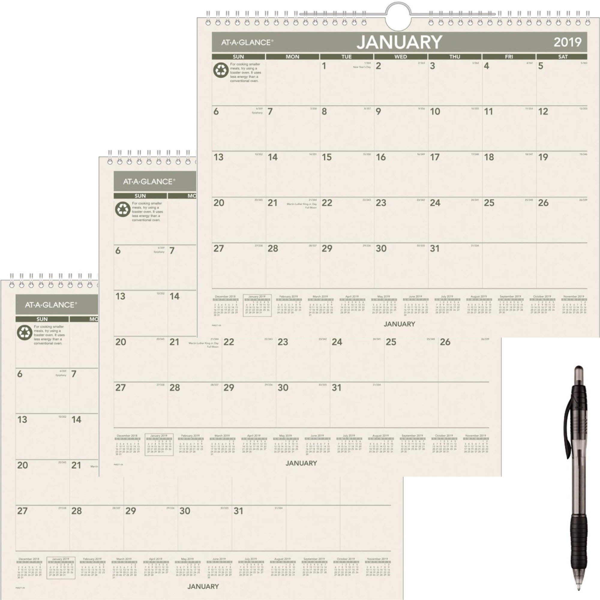 AT-A-GLANCE Monthly Wall Calendar, Recycled, January 2019 - December 2019, 14-7/8'' x 11-7/8'' (PMG7728) 3 Pack - Bundle Includes Black Ballpoint Pen