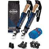 Equipeak Folding Trekking Poles, 2 Lightweight Durable Aluminum Hiking Sticks, Ultra Compact for Travel, Seniors, Men, Women