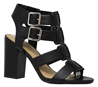 fa01b31a38f Amazon.com  MVE Shoes Women s Open Ankle Toe Double Buckle Strappy ...