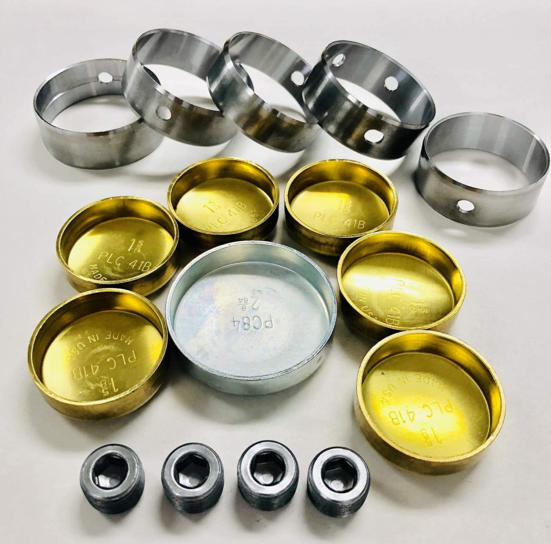 Elgin Brass Freeze Plug Set /& Clevite Cam Bearings set compatible with Chrysler bb 383 400 413 426 440