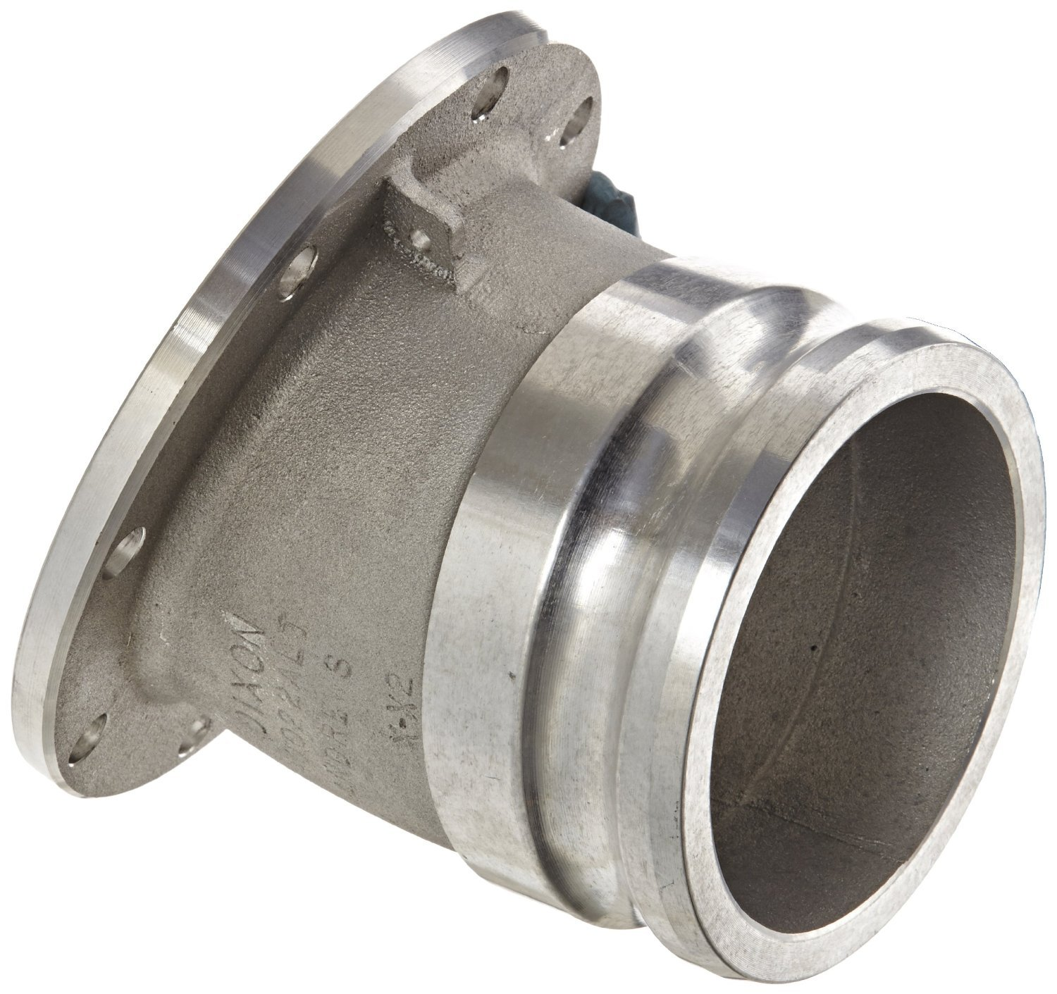 Dixon 40022ALTAL Aluminum Cam and Groove Hose Fitting, 22-1/2 Degree Elbow, 4'' Plug x Round Tank Truck Flange
