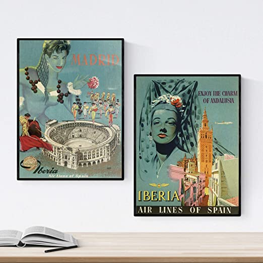 Nacnic Posters Vintage. Posters Publicidad del Mundo. Dos láminas ...