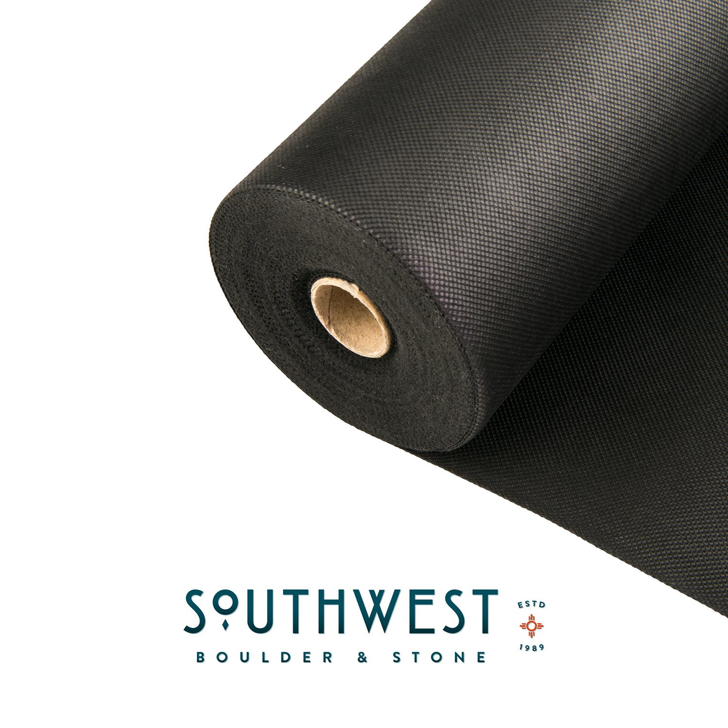 Southwest Boulder & Stone Weed Barrier | Landscape Fabric for Outdoor Gardens | Black Commercial Grade Weed Block Cloth | Heavy-Duty Landscaping Material 3' x 50', 20-Year Guarantee