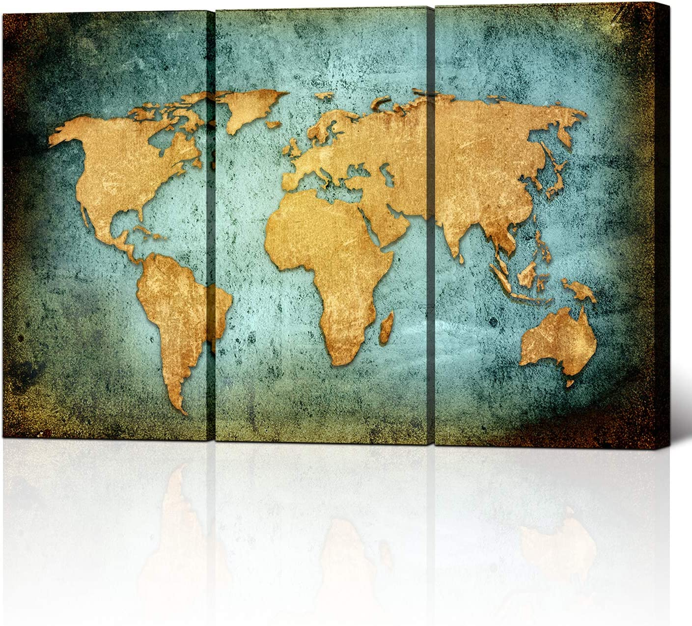 Large Size Vintage World Map Poster Printed On Canvas,Blue Sea Yellow Map Printing Mural Art For Wall ,Framed and Stretched,World Map Canvas Prints for Living Room,Office,Hotel,Ready to Hang
