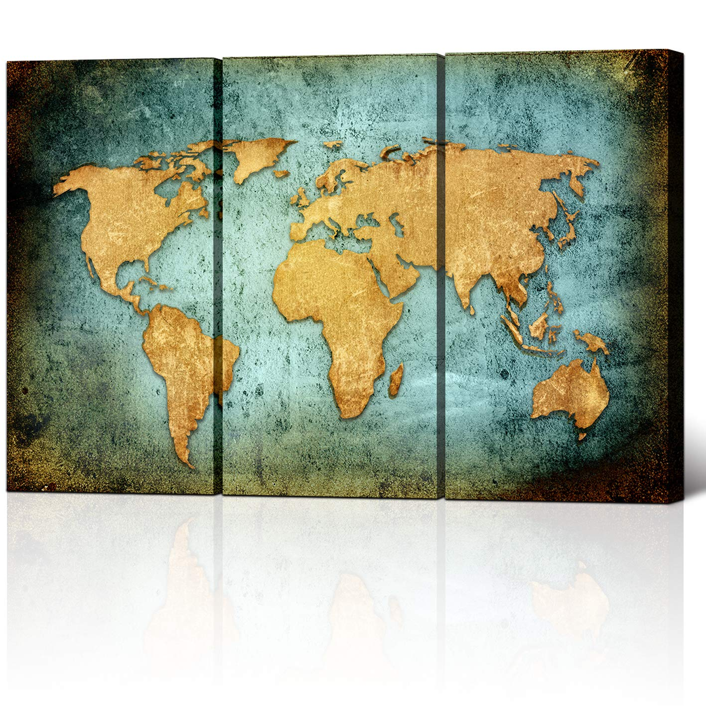 Large Size Vintage World Map Poster Printed On Canvas,Blue Sea Yellow Map  Printing Mural Art For Wall ,Framed and Stretched,World Map Canvas Prints  ...