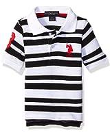U.S. Polo Assn. Boys' Heathered Stripe Pique Polo Shirt