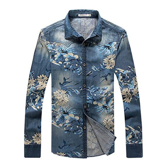 Shengdada Modern Denim Shirt Men Long Sleeve Camisa Denim Hombre Slim Fit Floral Shirts Men Cotton