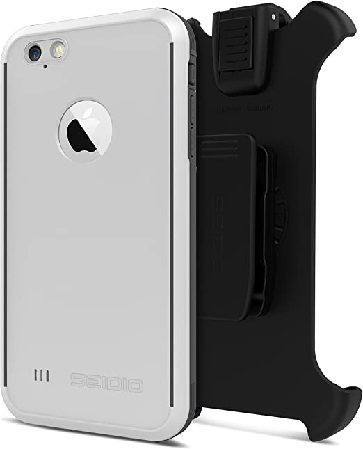 Amazon Com Seidio Obex Waterproof Case And Removable Belt Clip Holster Combo For The Iphone 6 Plus 6s Plus Drop Proof Retail Packaging White Gray