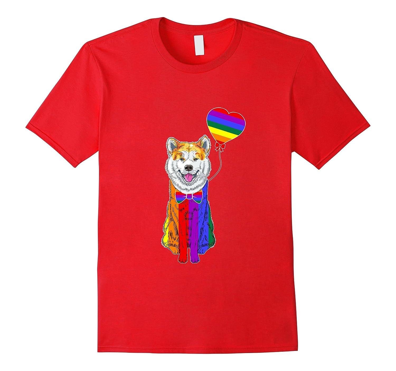 Akita LGBTQ 2017 Rainbow Gay Lesbian Pride Tshirt-Vaci