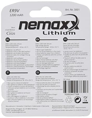 Nemaxx ER9V - Pila de 9 V (1200 mAh, litio), color blanco