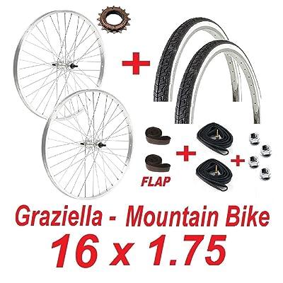 'Roues Vélo Graziella 16x 1.75+ 2Pneus + 2chambres + 2Flap