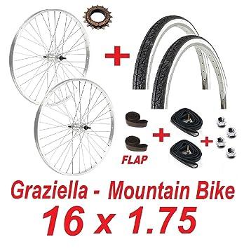 Ciclosport Graziella - Juego de 2 ruedas para bicicleta de 16 pulgadas x 1,75 con 2 neumáticos, 2 cámaras y 2 fondos de llanta: Amazon.es: Deportes y aire ...