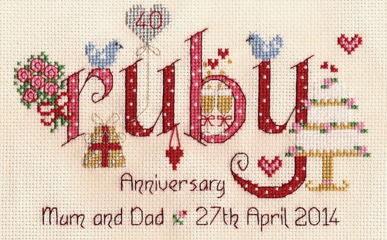 Nia Ruby Wedding Anniversary Word Sampler Cross Stitch Kit