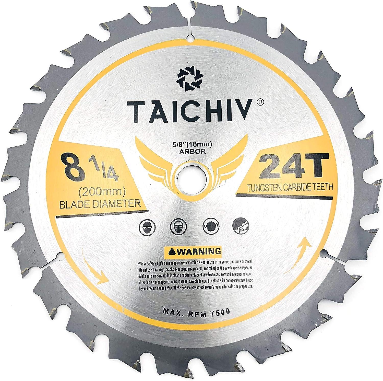 TAICHIV 8-1/2-Inch 24 Tooth ATB Carbide Framing Saw Blades with 5/8-Inch Arbor Circular Saw Blades for Wood Cutting
