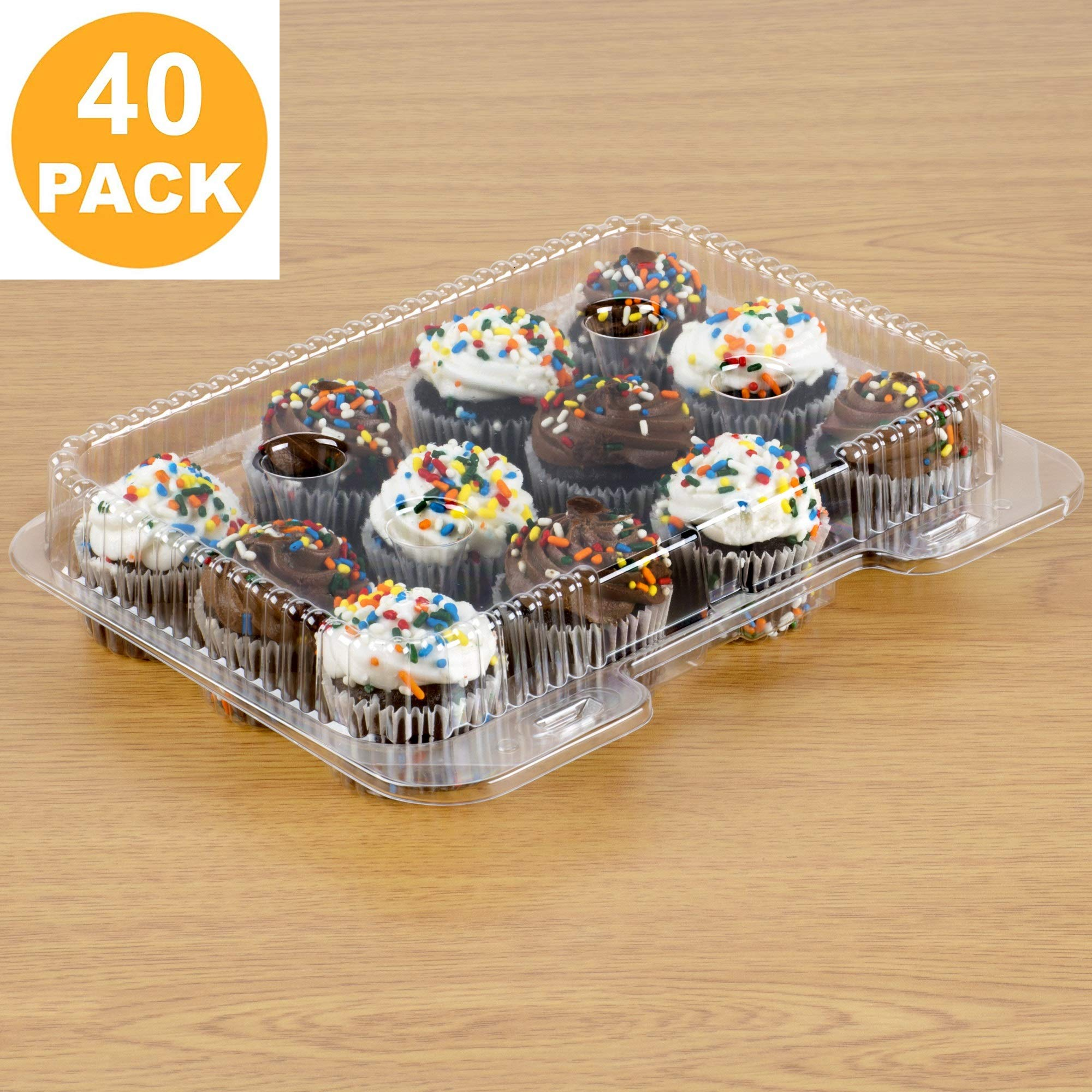 40 Mini Cupcake Boxes | Mini Cupcake Container 12 Compartment - Clear Plastic Mini Cupcake Carrier | Mini Muffin Holders - Small Cupcake Clamshell | Disposable Cupcake Packaging Transporter