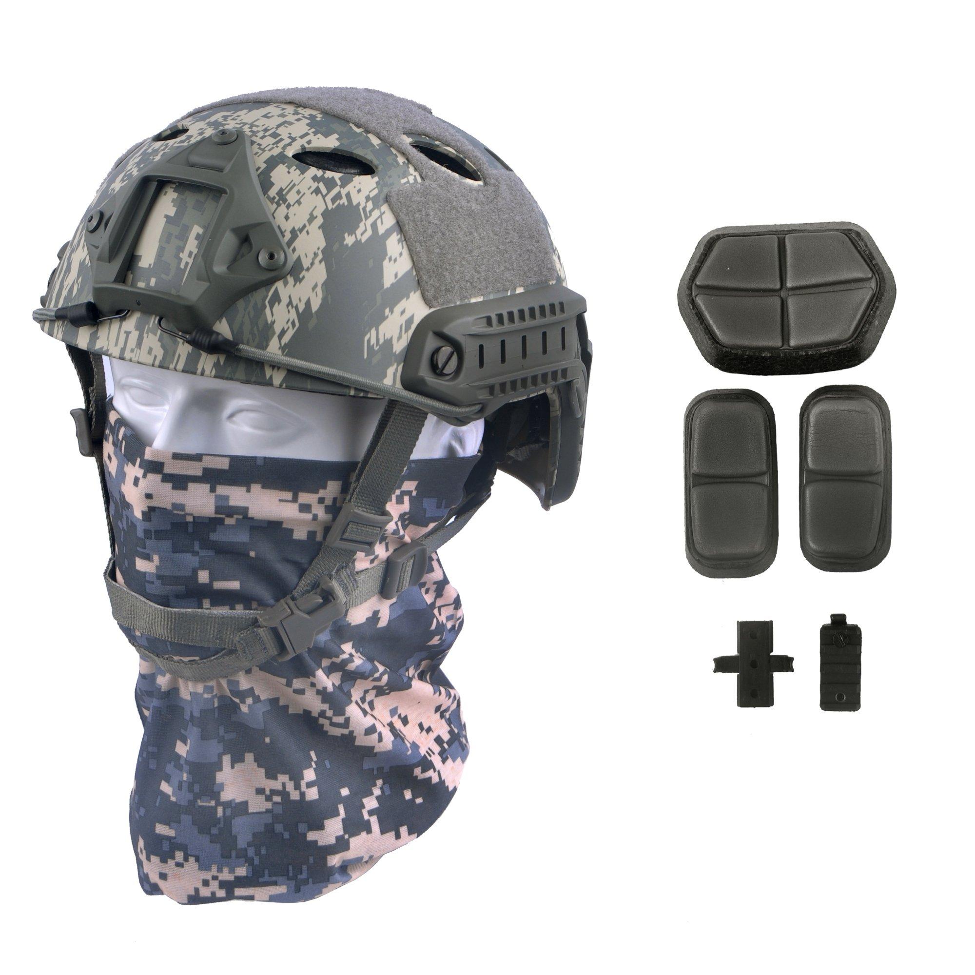 LOOGU Fast PJ Base Jump Military Helmet with 12-in-1 Headwear(ACU) by LOOGU