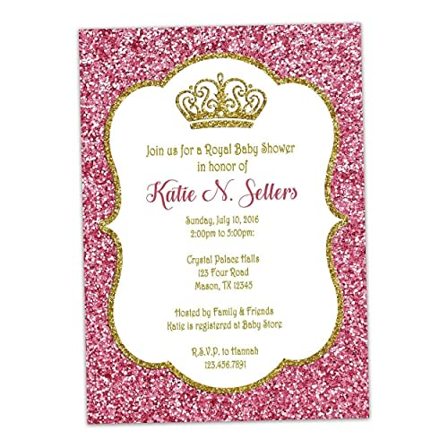 amazon com pink gold glitter baby shower invitations princess royal