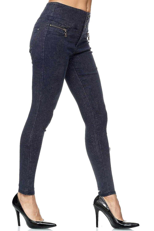 Elara Pantalones el/ásticos de Cintura Alta Chunkyrayan Jeggings Delgados con Cremalleras
