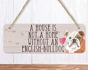 43LenaJon English Bulldog Sign Gift for Bulldog Lovers,Hanging Wood Sign Decor for Door,Wooden Farmhouse Welcome Label