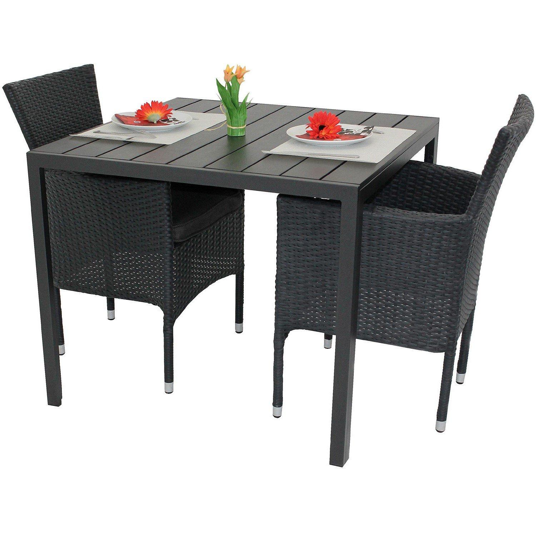 3tlg gartenm bel set aluminium polywood tisch 90x90cm. Black Bedroom Furniture Sets. Home Design Ideas