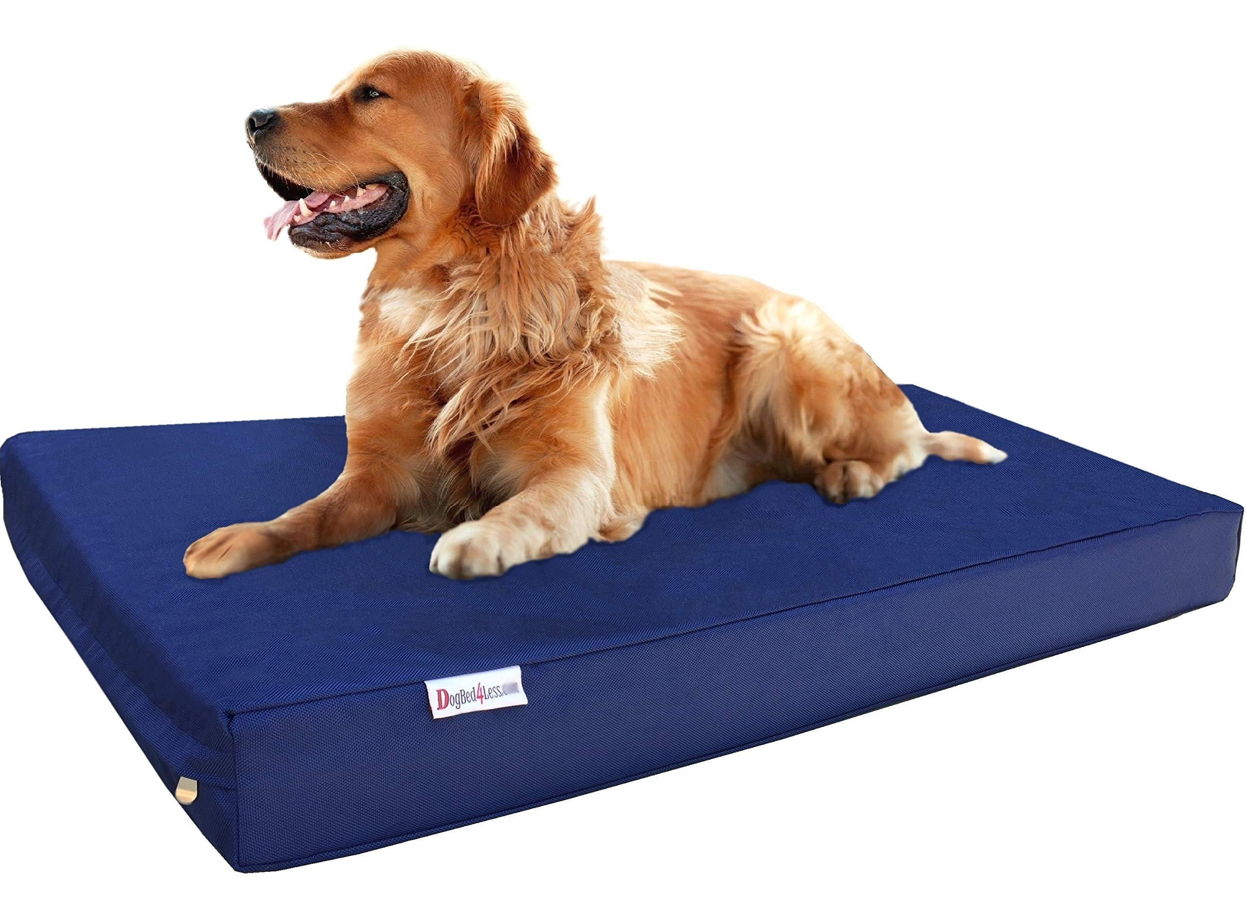 Dogbed4less Durable Extra Large Gel Memory Foam Dog Bed with 1680d Nylon Blue Cover and Waterproof Liner with Bonus Cover, 47X29X4 Inch (Fit 48X30 Crate)