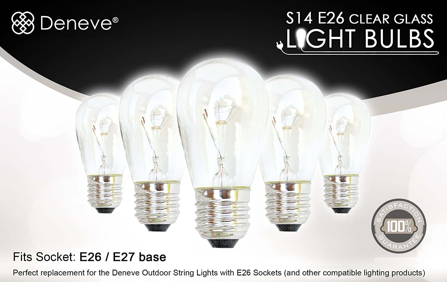 String light company incandescent light bulb pack of 25 - S14 Bulbs By Deneve 11 Watts Clear Glass S14 Incandescent Light Bulbs For E26 E27 Sockets 25 Pack Amazon Com