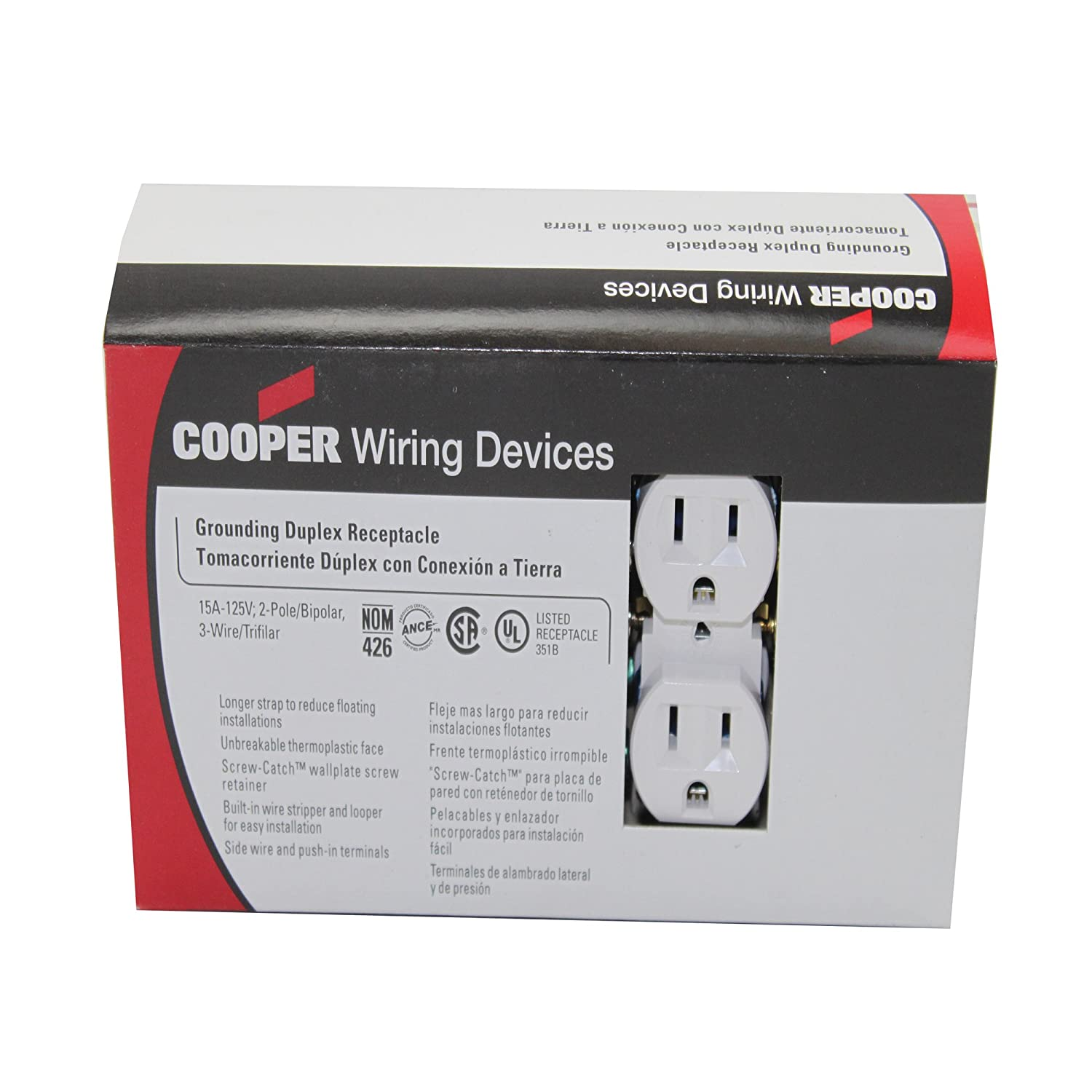 Cooper Wiring Devices 15-Amp White Duplex Electrical Outlet; White ...