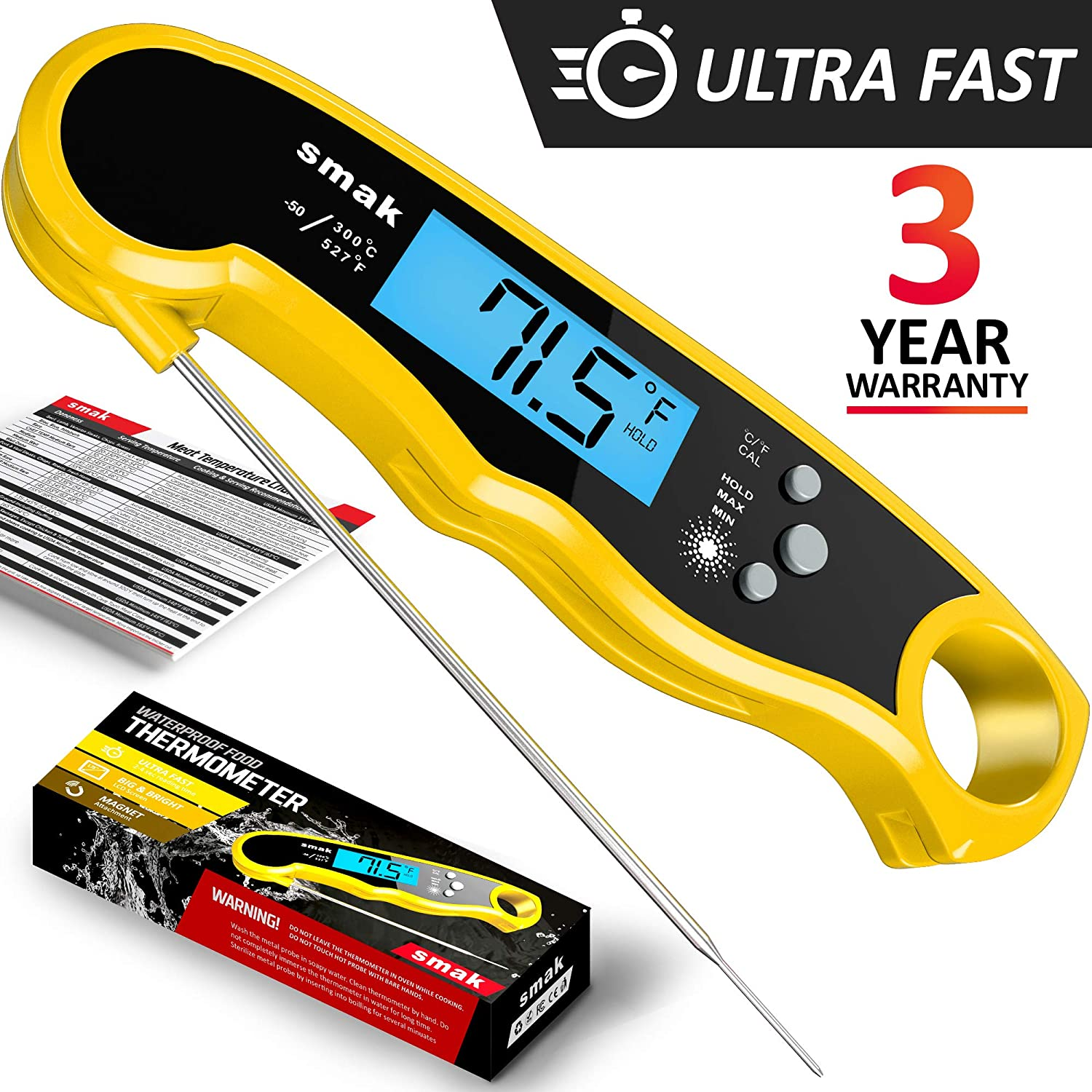 Smak Instant Read Meat Thermometer - Waterproof Kitchen Food Cooking Thermometer with Backlight LCD - Best Super Fast Electric Meat Thermometer Probe for BBQ Grilling Smoker Baking Turkey (Mango)