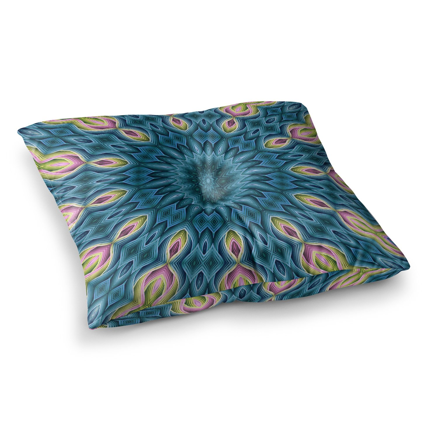 Kess InHouse Sylvia Cook Zapped Blue Teal 23 x 23 Square Floor Pillow