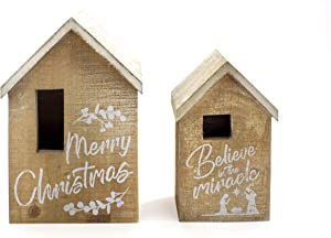 Elysian Gift Shop Beautiful Decorative Christmas Light Up Wood Houses (Set of 2) with LED Candle Light. Rustic Tabletop Holiday Decoration with Merry Christmas writting and Nativity Details