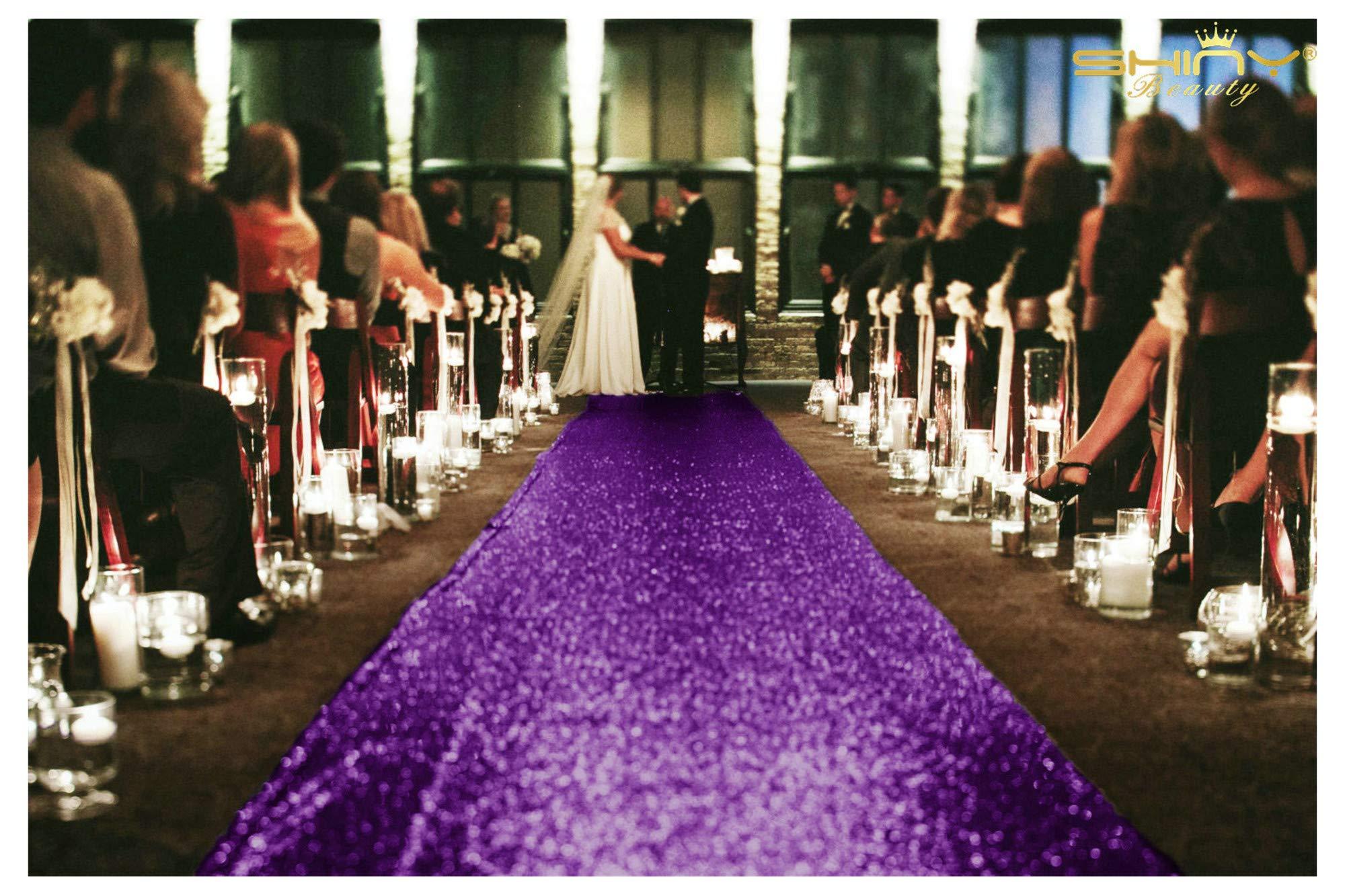 ShinyBeauty Purple Runner for The Bride 4FTx55FT Sequin Aisle Wedding Isle Runner Outdoor Royal Purple Carpet Runner for Party N115