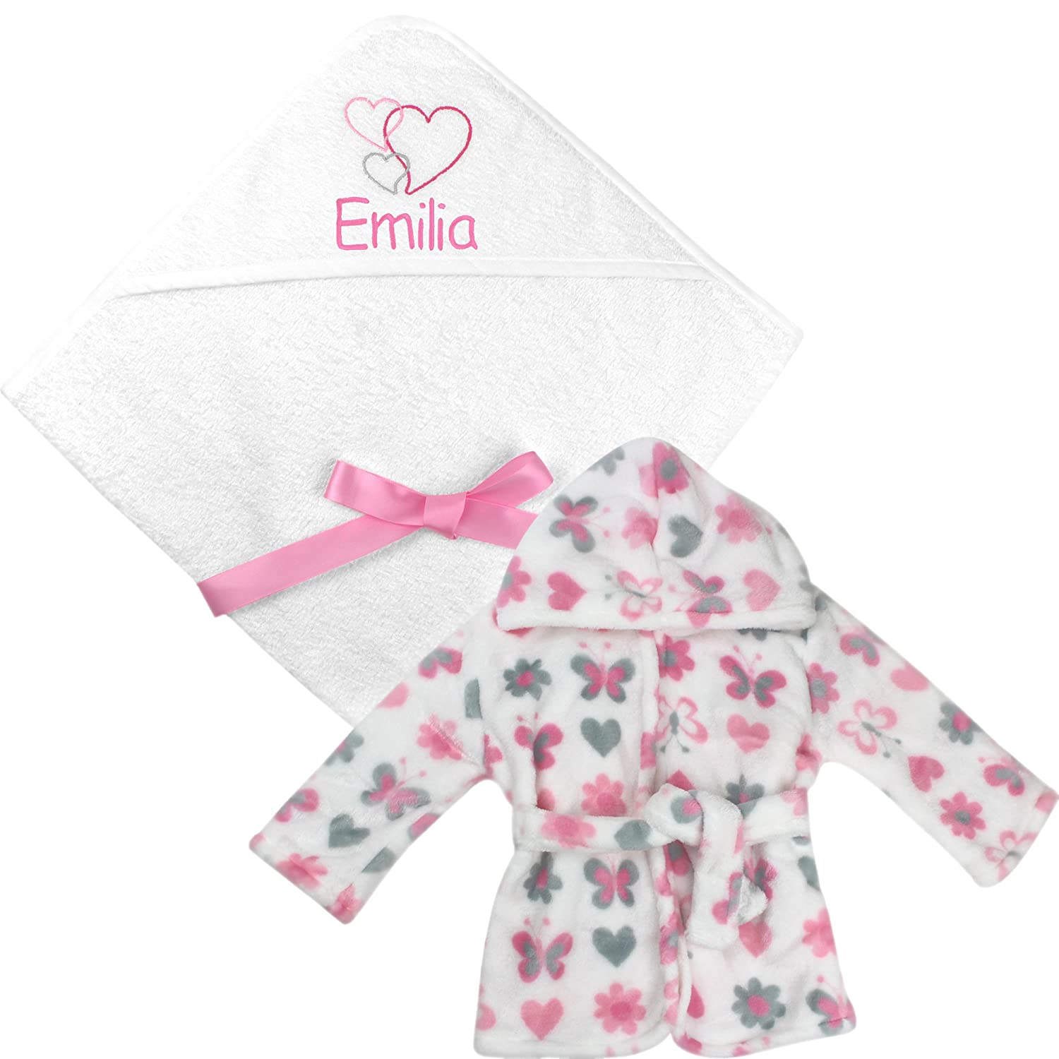 Personalised Gift Set Baby Girl's Hooded Bath Towel and Bathrobe Dressing Gown TeddyT' s