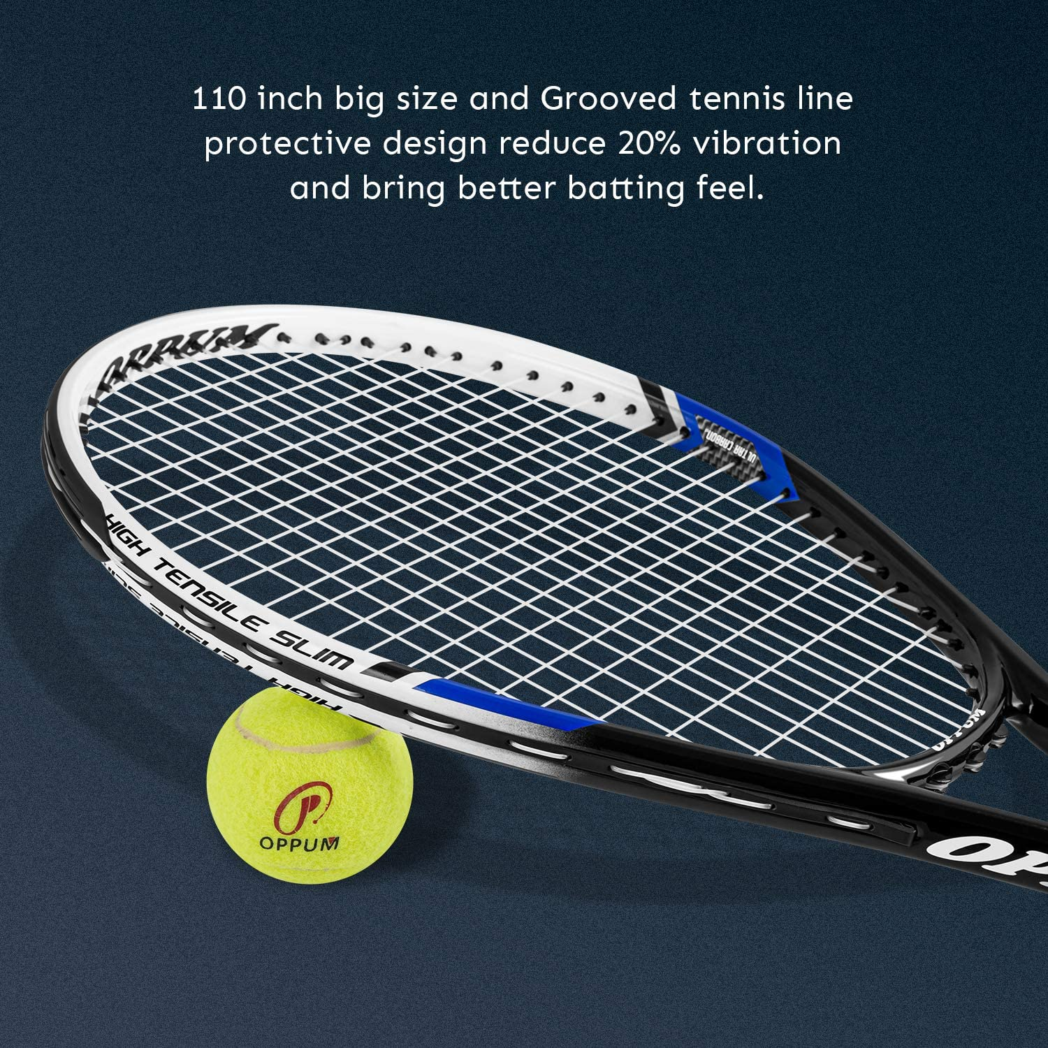 oppum Adult Carbon Fiber Tennis Racket, Super Light Weight Tennis Racquets Shock-Proof and Throw-Proof, Include Tennis Bag Tennis Overgrip (Aluminum-Carbon Racquet(Balck Blue), 4 3/8) : Sports & Outdoors