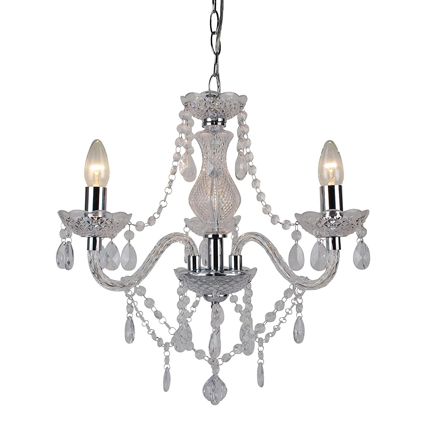Clear And Chrome Marie Therese 3 Light Ceiling Pendant Chandelier How To Install A Dimmer Switch Apps Directories Lighting