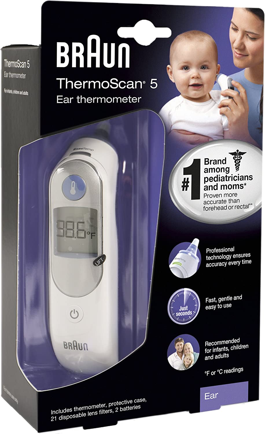 Infants Toddlers Braun Digital Ear Thermometer Suitable for Baby and Adults,