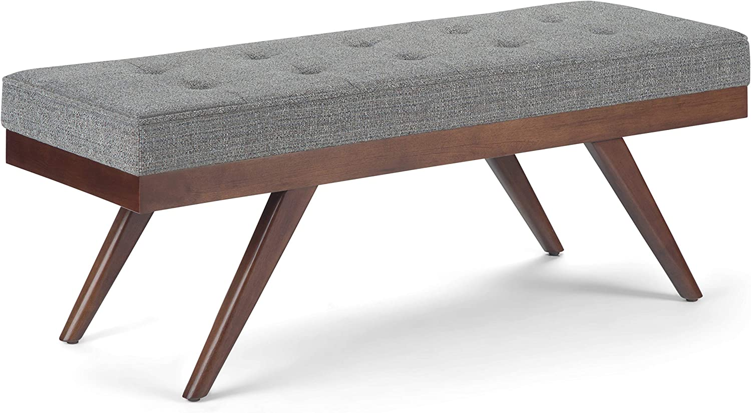 Simpli Home Pierce 48 inch Wide Mid Century Modern Rectangle Ottoman Bench in Pebble Grey Tweed Fabric