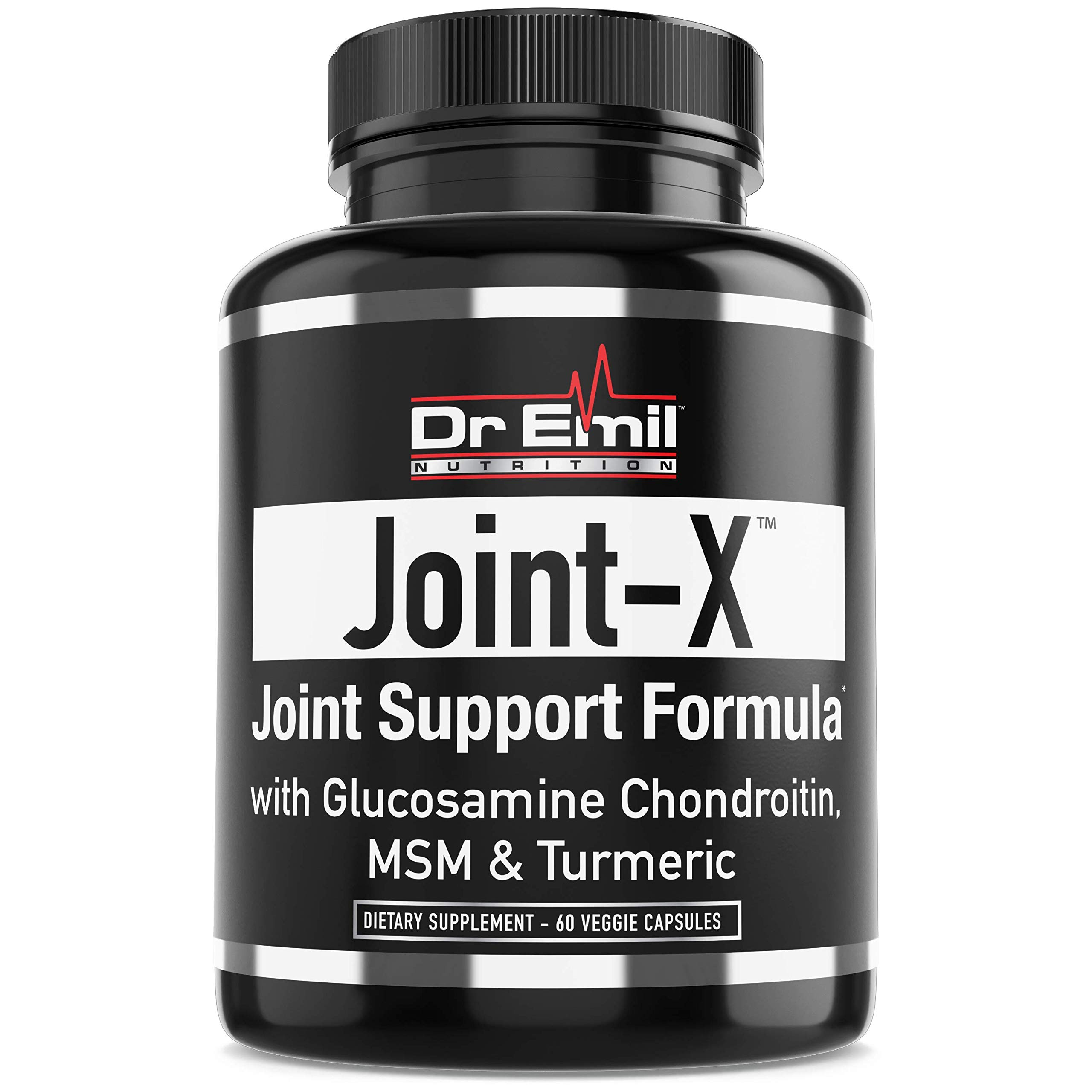 Dr. Emil's Joint Support Formula - Glucosamine Chondroitin, Turmeric & MSM - Doctor Formulated Joint Supplement for Mobility & Pain Relief - for Men & Women (60 Veggie Capsules)