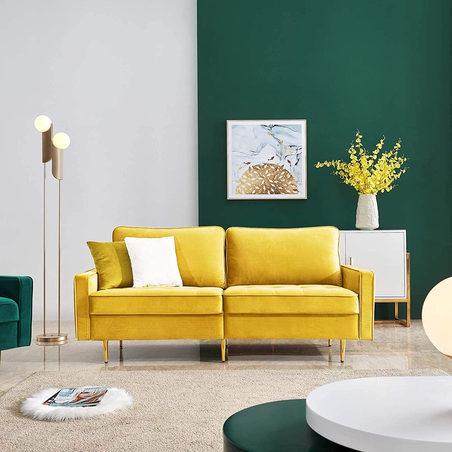 Amazon.com: JULYFOX Yellow Velvet Fabric Sofa Couch, 71 Inch Wide Mid Century Modern Living Room Couch 700lb Heavy Duty: Furniture & Decor