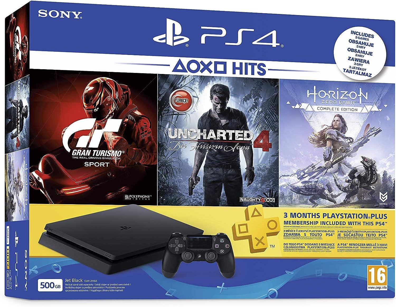 Sony PlayStation 4 500GB + GT Sport, Uncharted 4, Horizon Zero ...