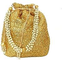 DUCHESS Designer Golden Polti Bag Pearl Handle and Tassel Ethnic Purse Women's/Girls's Handbag for Party, Casual, Bridal