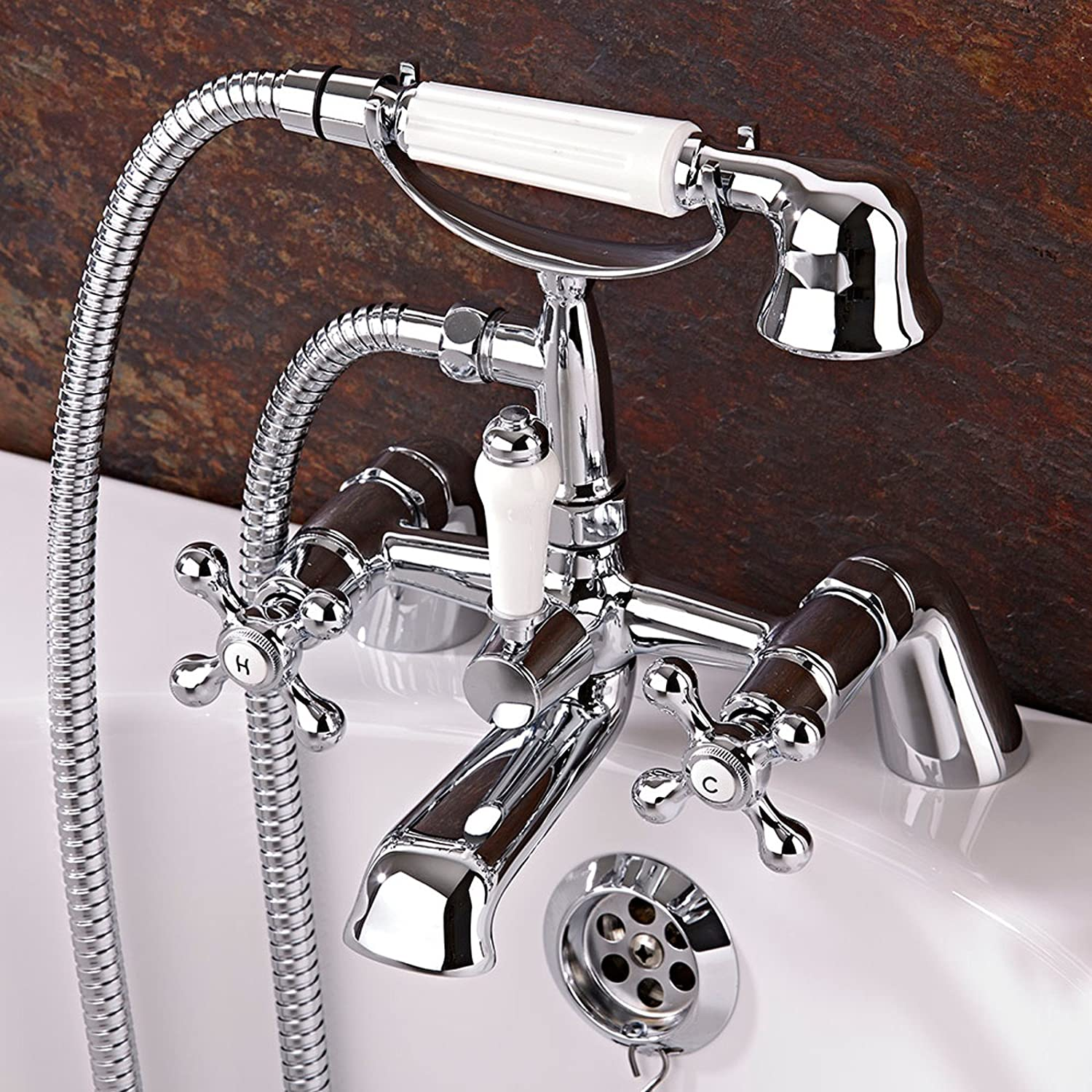 enki traditional cross handle bath filler mixer taps shower enki traditional cross handle bath filler mixer taps shower bathroom chrome windsor amazon co uk diy tools