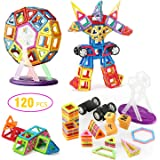 Magnetic Blocks, Glonova 120 Pcs Magnetic Building Blocks with Wheels, Magnet Tiles Toys for Kids, Upgrade Quality Instruction Booklet and Storage Bag Included