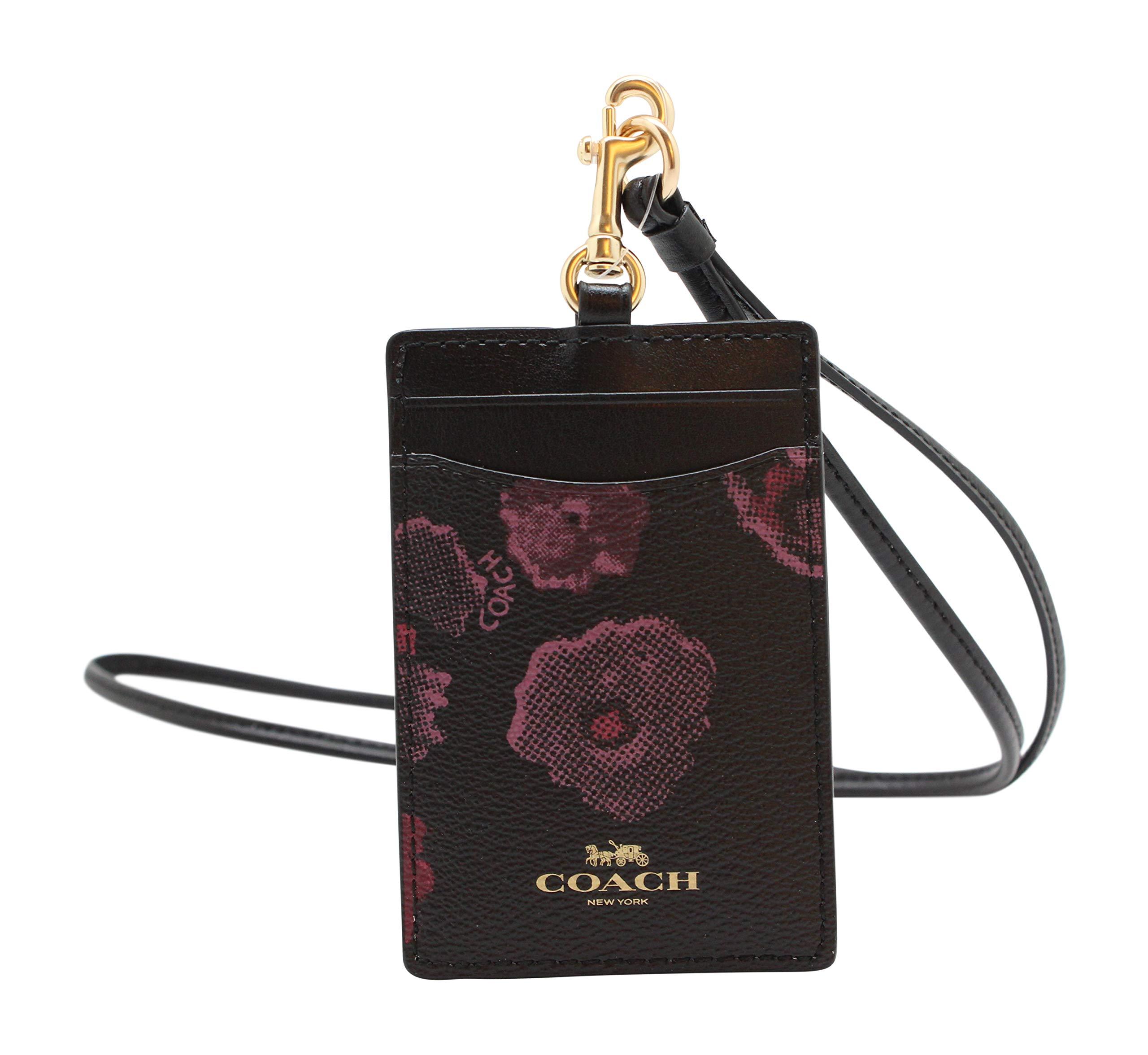 Coach F39055 Coated Canvas Badge ID Lanyard in Halftone Floral Print Black Wine