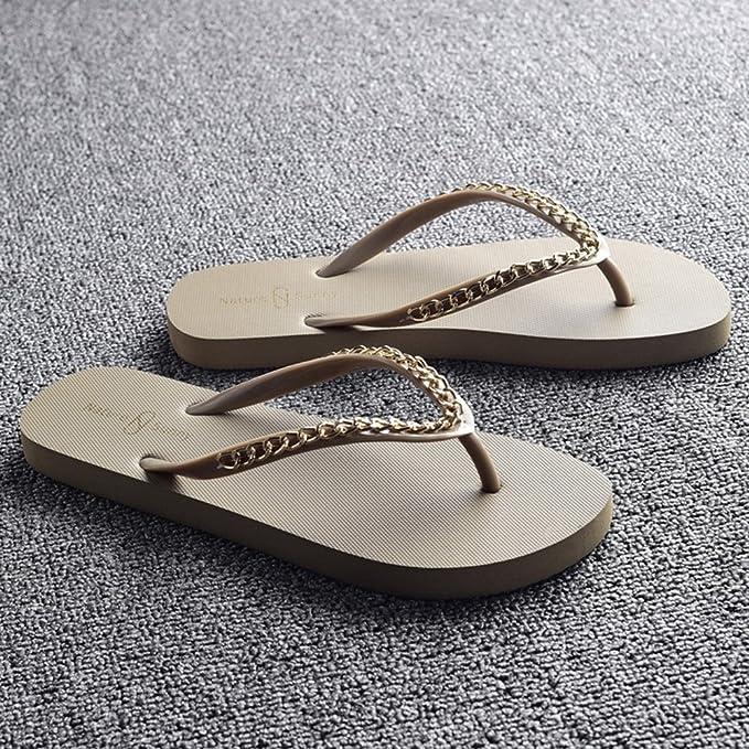 LIXIONG Tragbar Ladies coole Pantoffeln Sommer-Mode rutschige Pantoffeln Weibliche Strandschuhe Beige, Schwarz, Braun, Weiß Modeschuhe ( Farbe : Weiß , größe : EU38/UK5.5/CN38 )