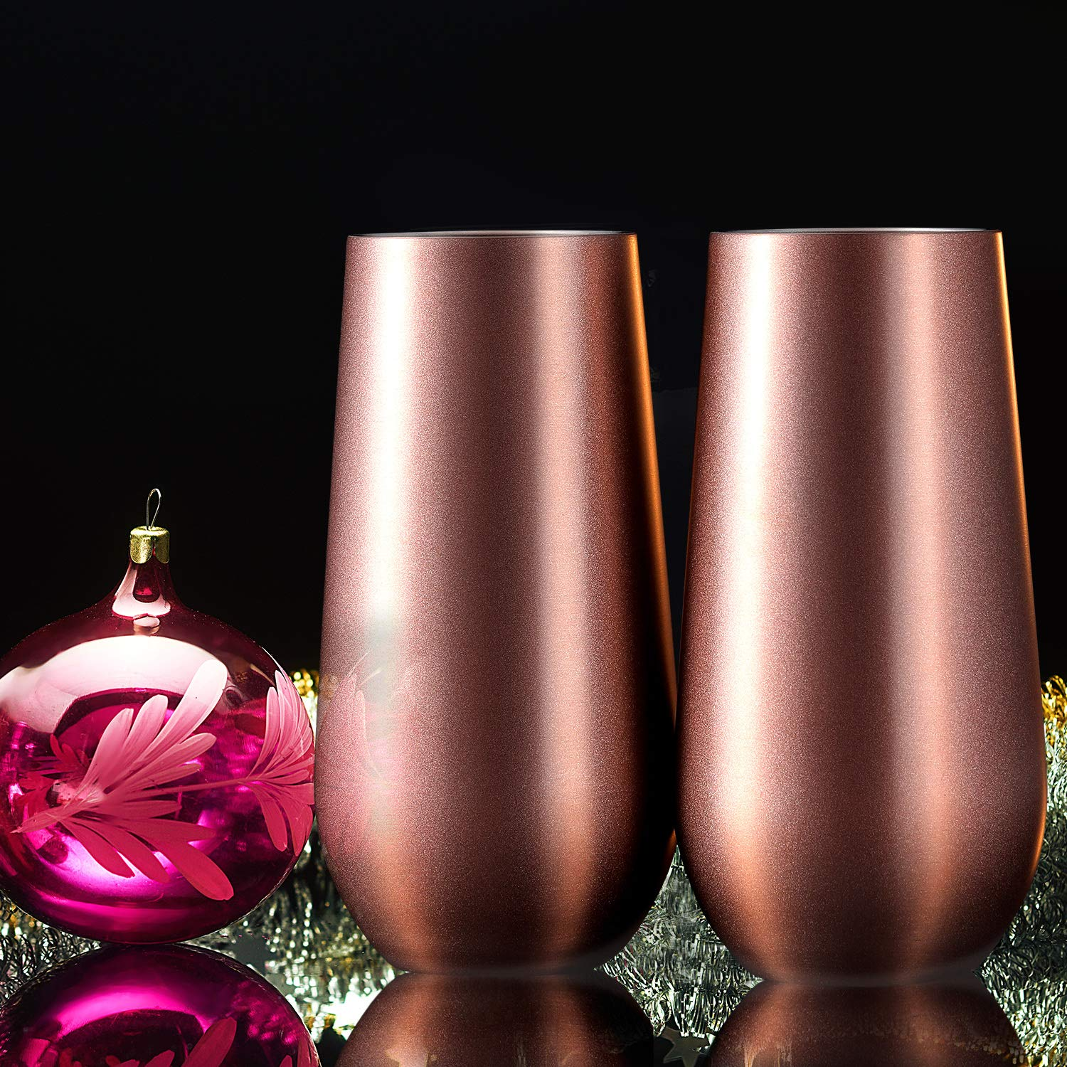 Skylety 4 Pack Stemless Double-insulated Wine Tumbler Champagne Flutes, 6 OZ Reusable Cocktail Cups Unbreakable Champagne Toasting Glasses with Lids (Rose Gold) by Skylety (Image #2)