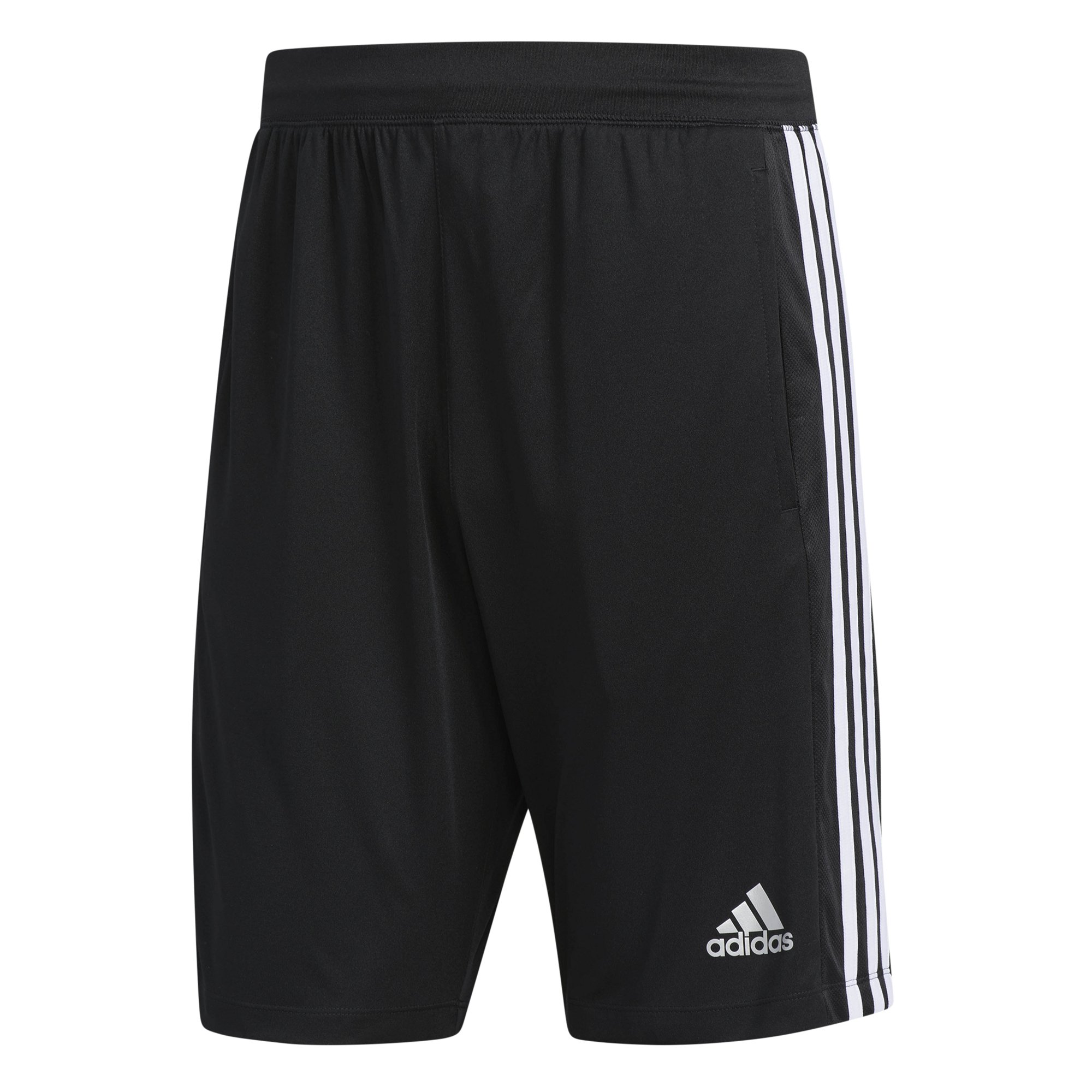 adidas Men's Designed-2-Move 3-Stripe Shorts, Black/White, Large