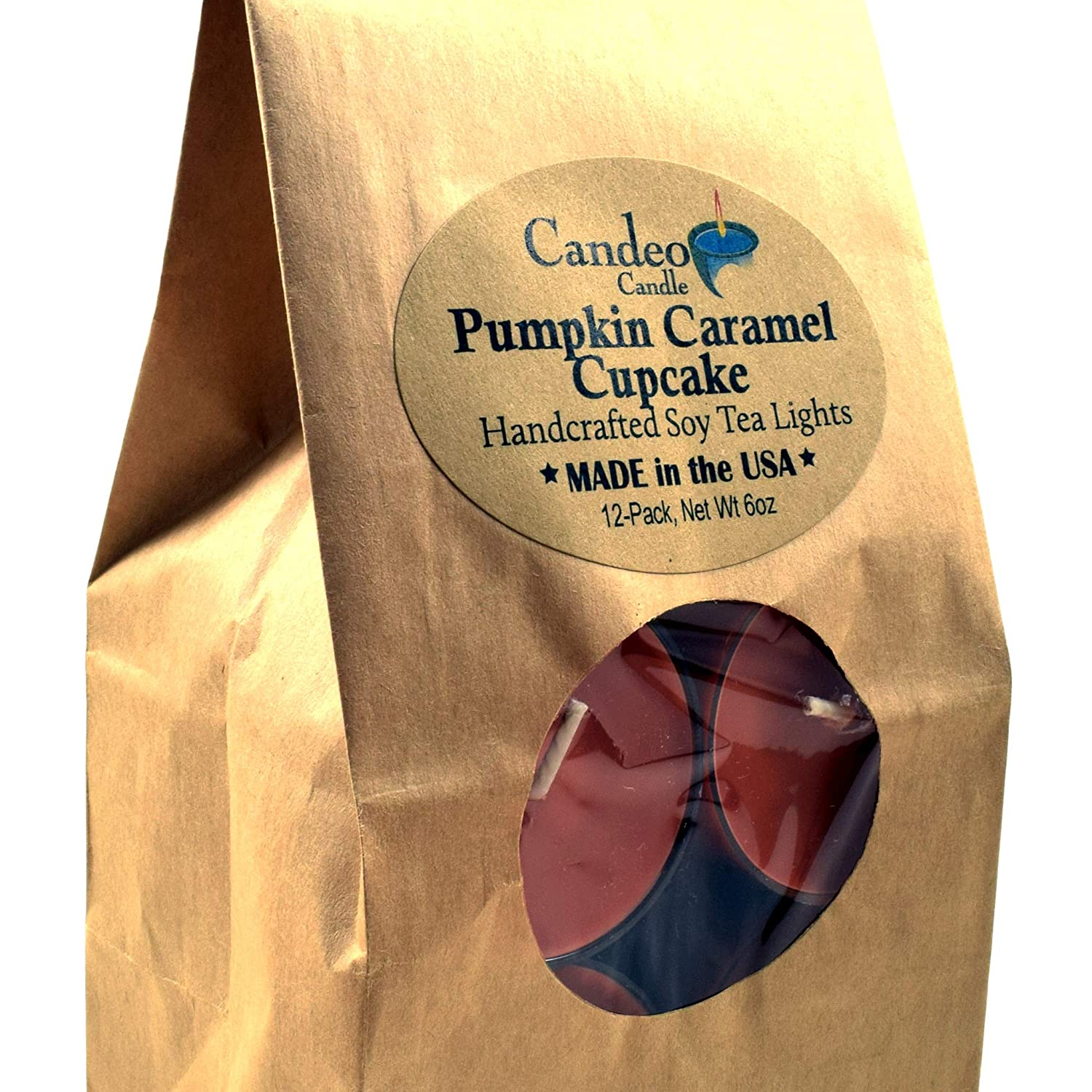 Pumpkin Caramel Cupcake, Fall Scented Soy Tealights, 12 Pack Clear Cup Candles, Autumn Scented Candeo Candle 13597