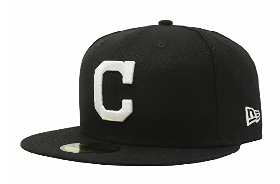 New Era 59Fifty Cleveland IndiansC Fitted Hat (Black White) Men s MLB Cap 89a447d01