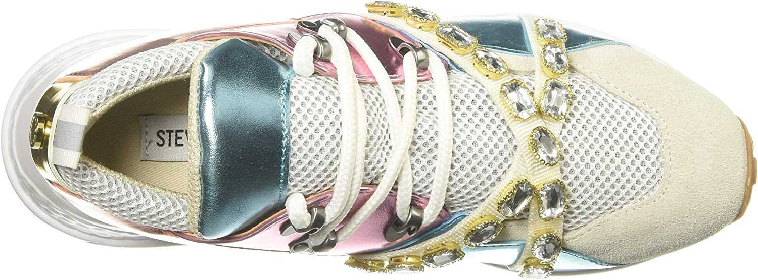 Size 9.0 Metallic Multi Steve Madden Womens Credit Low Top Lace Up Fashion