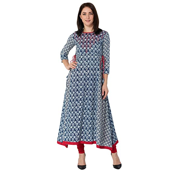 GULMOHAR JAIPUR Women's Cotton A-line Kurti Kurtas & Kurtis at amazon